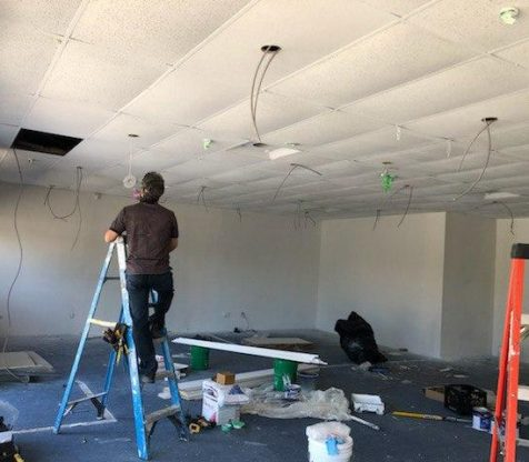 Commercial Drop Cieling Potlight Wiring Installation Photo 2